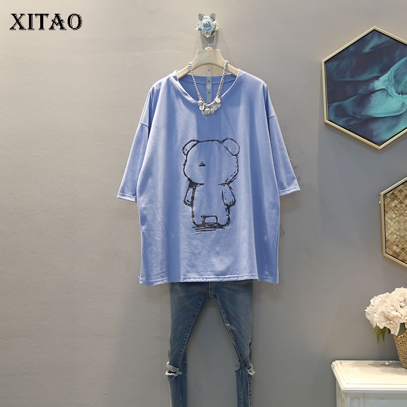 XITAO Print Pattern T Shirt Fashion New Half Sleeve 2020 Spring O Neck Elegant Goddess Fan Casual Loose Pleated Tee Top DMY4090