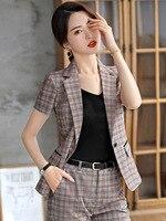 Women Clothes Short sleeved Plaid Blazer Women's Thin Summer New Fashion British Style Professional Suit Set Women Suit