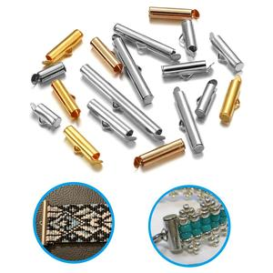 30-50Pcs/lot Crimp End Caps Slider Clasp Buckles Tubes Diy Bracelet Connectors Loom Findings for Jewelry Making Accessories