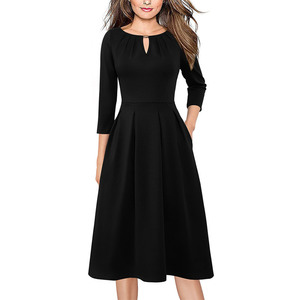 Image 3 - Vfemage Womens Autumn Elegant Pleated Keyhole Neck Pockets Work Business Office Casual Party Fit Flare Skater A Line Dress 5113