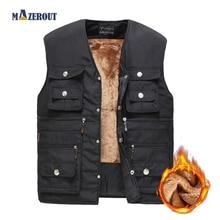 MAZEROUT Mens Jacket Sleeveless Vest Spring Thermal Soft Vests Casual Coats Male Cotton Men's Vest Men Thicken Waistcoat Fur