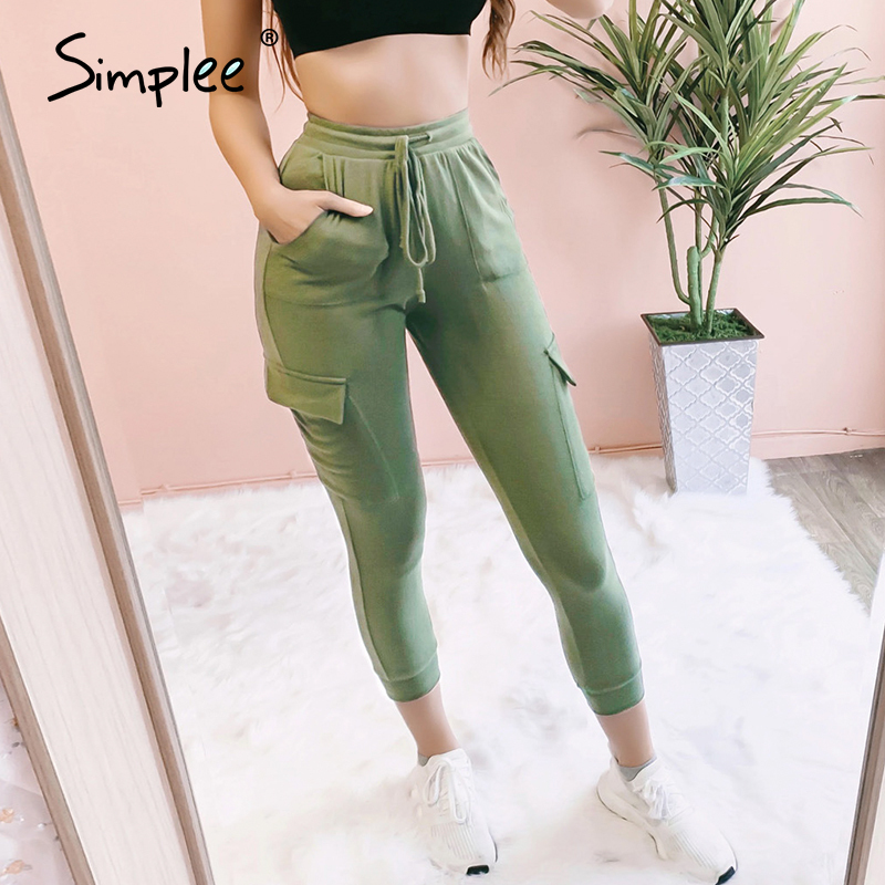Simplee Elastic Waist Sweatpants Women Casual Pockets Lace Up Skinny Pants Female Trousers High Waist Streetwear Ladies Pants