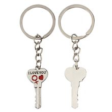 1 Pair I LOVE YOU Letter Heart Arrow Key Lock Couple Heart Key Chain Ring Keyring Keyfob Valentine's Day Wedding Lover Gift(China)
