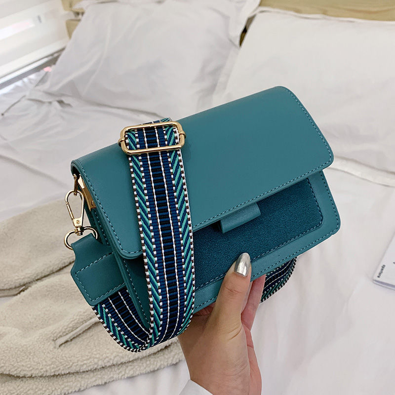 Women fashion shoulder bag Mini Leather Crossbody All-match wide shoulder strap crossbody small square bag Women Travel Handbags