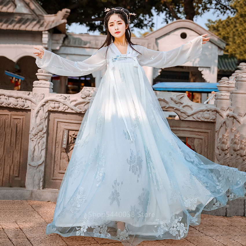 Hanfu <font><b>Women</b></font> Chinese Traditional Dance Costumes Ancient Fairy Dress Elegent Embroidery Folk Retro Stage New Year <font><b>Festival</b></font> <font><b>Outfit</b></font> image