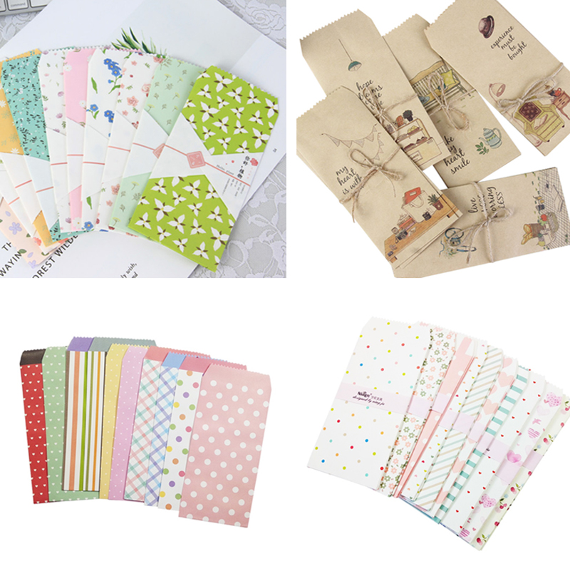 30packs/lot Kawaii Plants Candy Colors Striped Love Diverse Paper Envelope Stationery Prize Writing Office Envelope Letter Paper