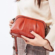 full grain leather messenger bag orange shoulder bags ladies shell bag cross body Simple women small bag