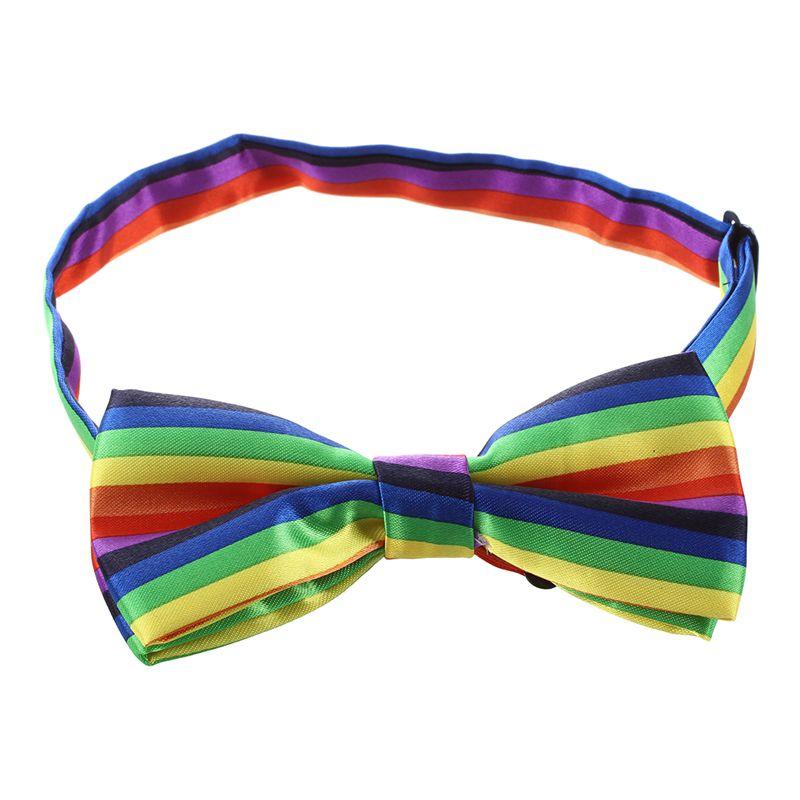 Mens Tuxedo Rainbow Stripe Woven Bow Tie Bowtie Necktie