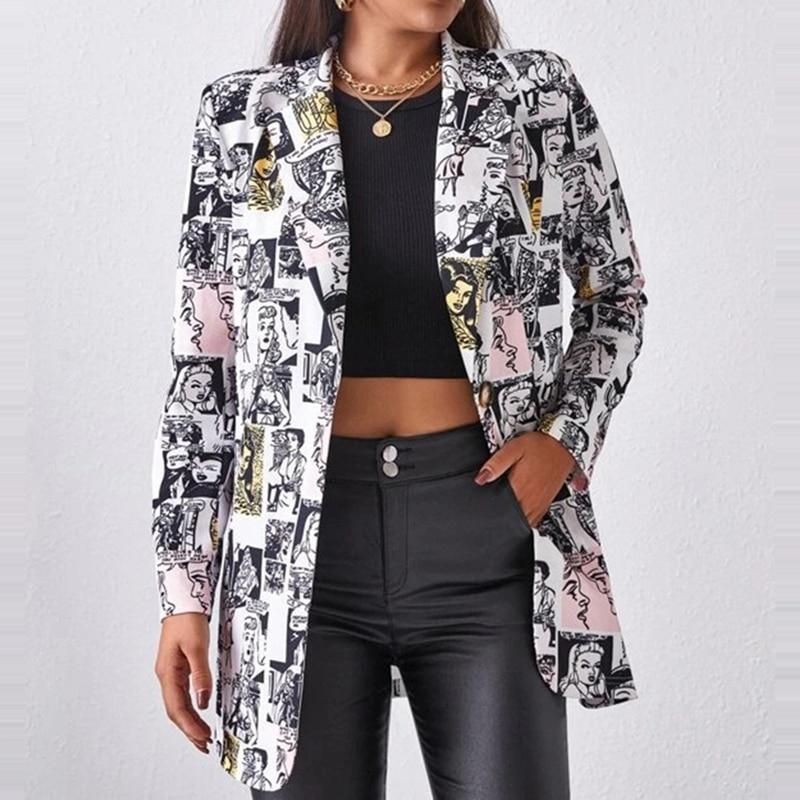 Hf511e870e6aa4e7f82d750ac512da9b42 Fashion Trend Women Lapel Leopard Print Long Sleeves Suit Jacket Elegant Fall Winter Office Lady Cardigan Coat Casual Streetwear