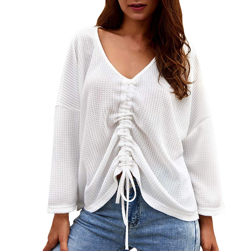Knitted <font><b>Sweater</b></font> Korean Style Casual V-neck Crop Tops Knitting <font><b>3/4</b></font> <font><b>Sleeve</b></font> Loose Solid Coat <font><b>Sweater</b></font> 2019 Autumn Winter Fashion Top image