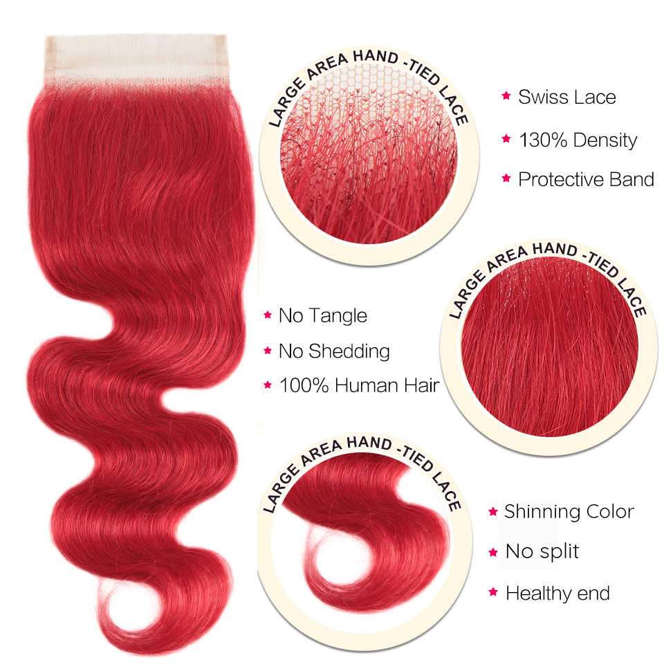 Paquetes rojos de perlas negras con cierre malayo onda del cuerpo Remy cabello humano tejer paquetes rojos con cierre