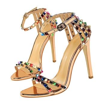 11cm High Heels Rivets Studded Sandals Stiletto Gladiator Pumps 2