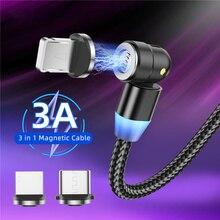 Led cabo magnético micro usb 540 rotação de carregamento 3a carregamento rápido para iphone 11 pro xs max samsung xiaomi