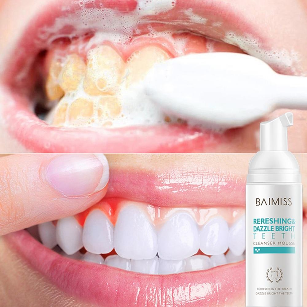 BAIMISS Fresh brillant Mousse de nettoyage des dents dentifrice blanchiment des dents hygiène buccale enlève les taches de Plaque outil dentaire de mauvaise haleine
