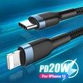USB-кабель Lighting для iPhone 12 Pro Max PD 18 Вт 20 Вт, кабель для быстрой зарядки для iPhone 12 11 XS XR 8, USB-кабель для передачи данных, кабель USB Type-C