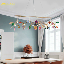 Nordic Agate Chandelier Lighting Modern Glass Firefly LED Ceiling Chandeliers Bedroom Dining Room Living Room Loft Hanging Lamps