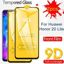 2 pçs 9d cobertura completa de vidro temperado para huawei honor 20 lite pro 20i 20e 20s protetor de tela segurança película protetora frontal 9d