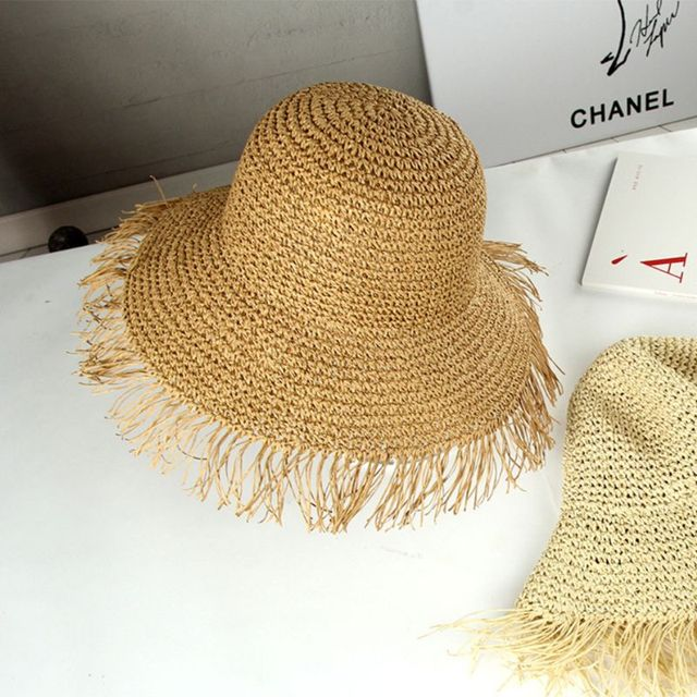 Women Summer Crochet Woven Straw Sun Visor Hat Fringed Tassels Large Wide Brim UV Protection Floppy Packable Beach Cap