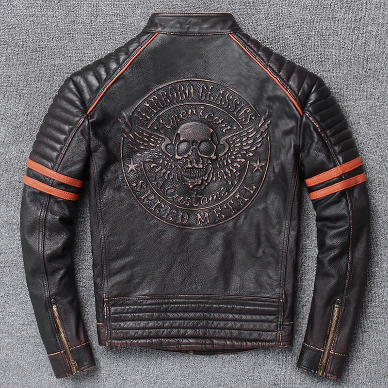 YR!Free Shipping.Wholesales.Street Hot Motor Biker Genuine Leather Jacket.skull Printing Cowhide Coat.vintage Slim Jackets