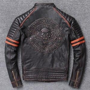 Image 1 - YR!Free shipping.Wholesales.Street Hot motor biker genuine leather jacket.skull printing cowhide coat.vintage slim jackets