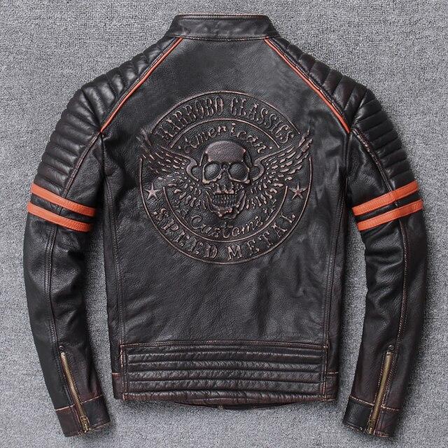 YR!Free shipping.Wholesales.Street Hot motor biker genuine leather jacket.skull printing cowhide coat.vintage slim jackets