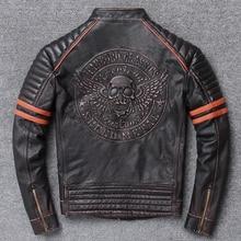 ปี! จัดส่งฟรี. ขายส่ง. street Hot มอเตอร์ biker เสื้อหนังแท้ skull พิมพ์ cowhide coat vintage slim แจ็คเก็ต