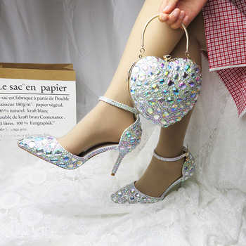 Love Moments AB crystal Wedding shoes 9cm Sweet Heels party shoes Woman Wedding shoes with matching bags Heart bags and shoes - DISCOUNT ITEM  20% OFF All Category