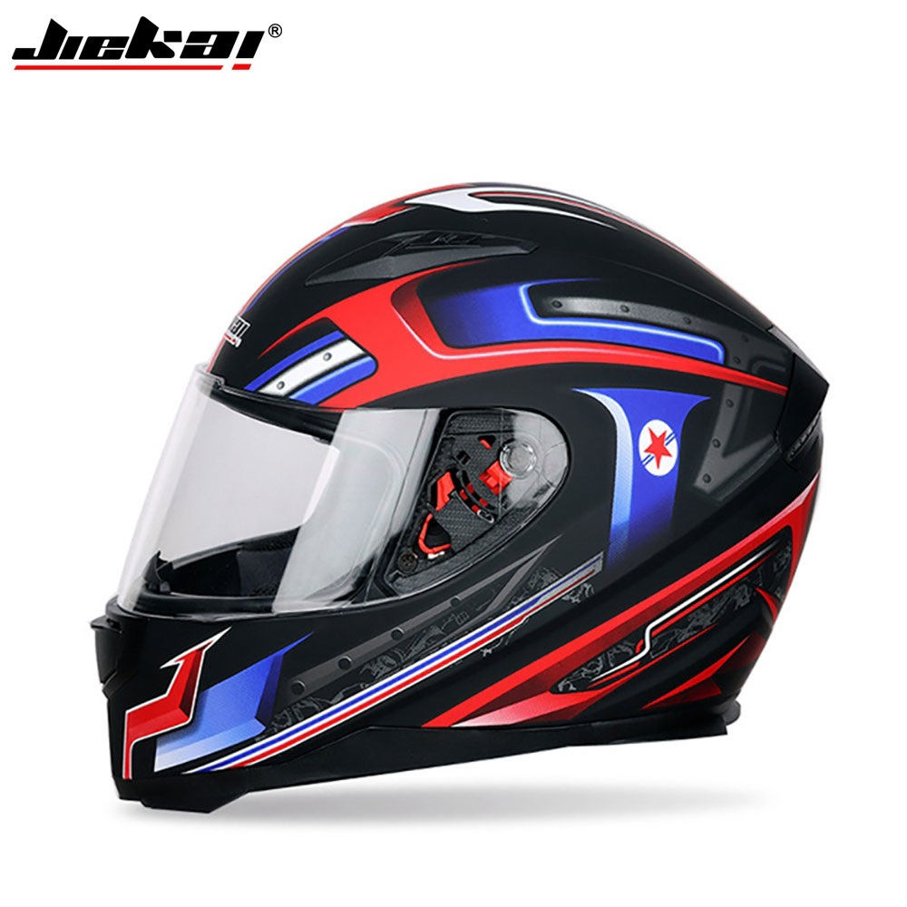 JIEKAI Motorcycle-Helmet Sun-Protection Dual-Lens Anti-Fog Universal Full-Face Windproof title=