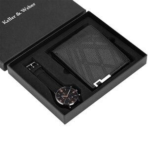 Image 3 - Luxus Männer Uhr Brieftasche Set Lederband Quarz Armbanduhr Mode Analog Uhr Geburtstag Geschenke für Vater Ehemann freund