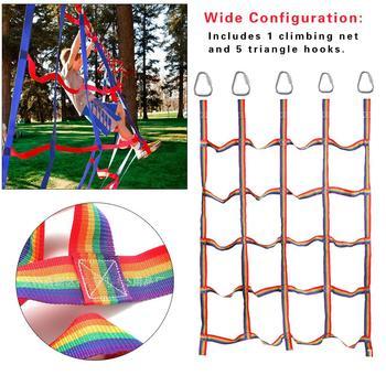 Outdoor Rainbow Ribbon Network trening fizyczny siatka wspinaczkowa trening fizyczny siatka wspinaczkowa dziecięca lekkoatletyka siatka wspinaczkowa tanie i dobre opinie Dziecko Physical Training Climbing Net