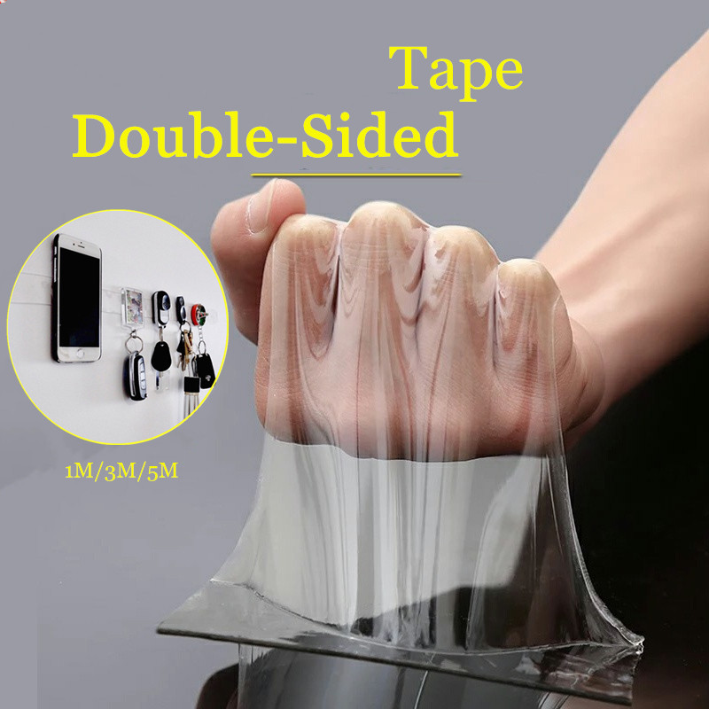 1m/3m/5m Double Sided Tape Washable Reuse Nano Magic Tape Transparent No Trace Waterproof Adhesive Tape Nano Tape Clear