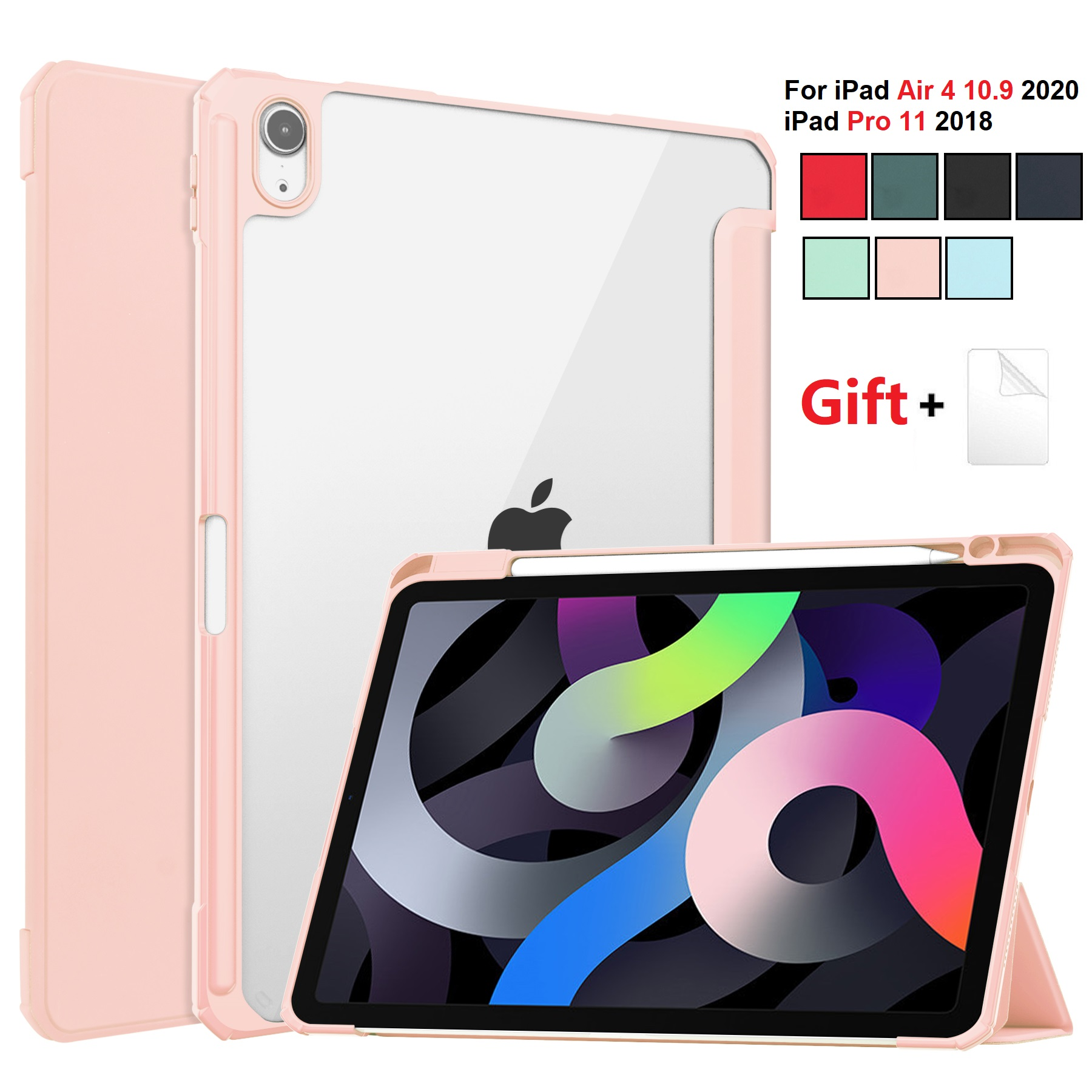 for iPad Air 4 Pink Pink For iPad Air 2020 Case 10 9 inch Tablet Case 3 folding Cover Funda Auto Wake