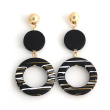Doreen Box Acrylic Earrings Stylish Simple Temperament Black Round Drop-Earrings For Women Jewelry  72mm x 34mm, 1 Pair
