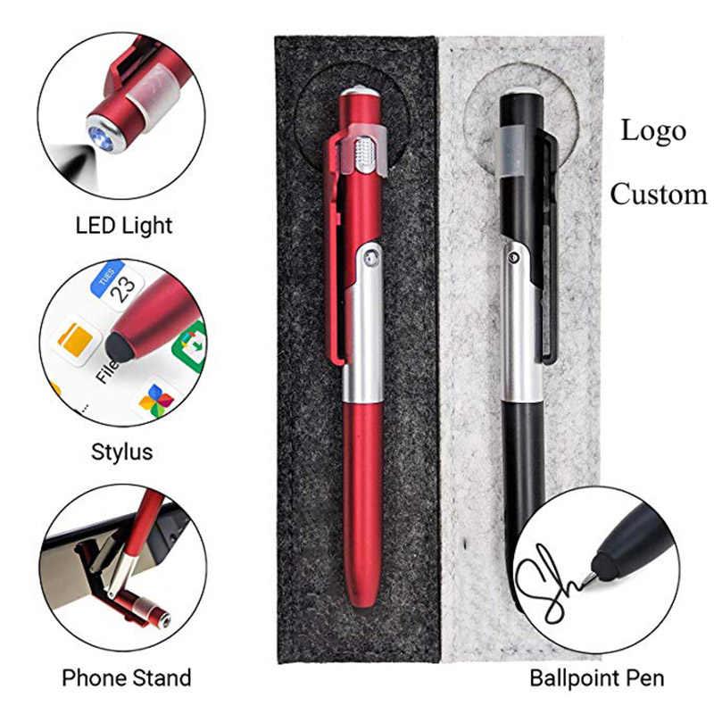 4 ב 1 נייד טלפון מחזיק LED אור קיבולי עט כתיבה עט חתונה מתנות לשלוח לקוחות פרסום פעילויות קטן מתנות