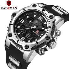 KADEMAN עבה מקרה צבאי ספורט גברים שעונים למעלה מותג יוקרה שעון 3ATM כפולה תנועה LCD שעוני יד מקרית זכר גומי שעונים