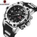 KADEMAN gruby futerał wojskowe sportowe zegarki męskie TOP luksusowa marka zegarek 3ATM podwójny ruch LCD zegarek na co dzień męskie gumowe zegary