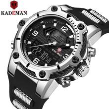 Kademan grosso caso militar esporte masculino relógios topo marca de luxo relógio 3atm duplo movimento lcd relógio de pulso casual masculino relógios borracha