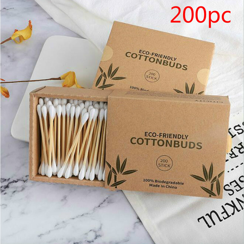200pc Double Head Cotton Swab Bamboo Cotton Swab Wood Sticks Disposable Buds Cotton For Beauty Makeup Nose Ears Cleaning