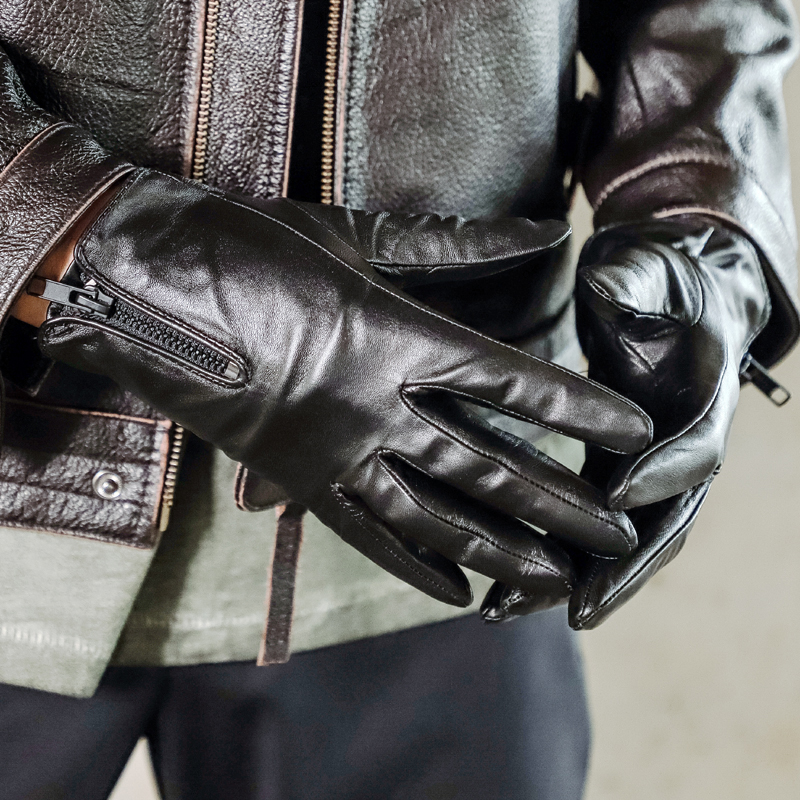 Black Genuine Leather Glove Fur Lined For Men Driving Motorcycle Full Finger Real Leather Gloves Touchscreen With Zipper NR120