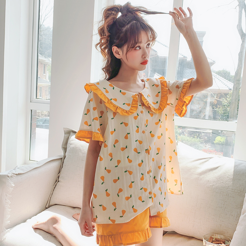 Pure Cotton Printed Pattern Short Sleeves Sweet Girl Sleepwear Korea Style Casual Women Short Pants Pyjamas For Summer