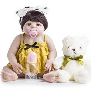 24 Inch Reborn Baby Dolls 55cm Realistic Newborn Baby Doll lifelike full Silicone body dolls in water toys Bonecas New Year gift цена 2017