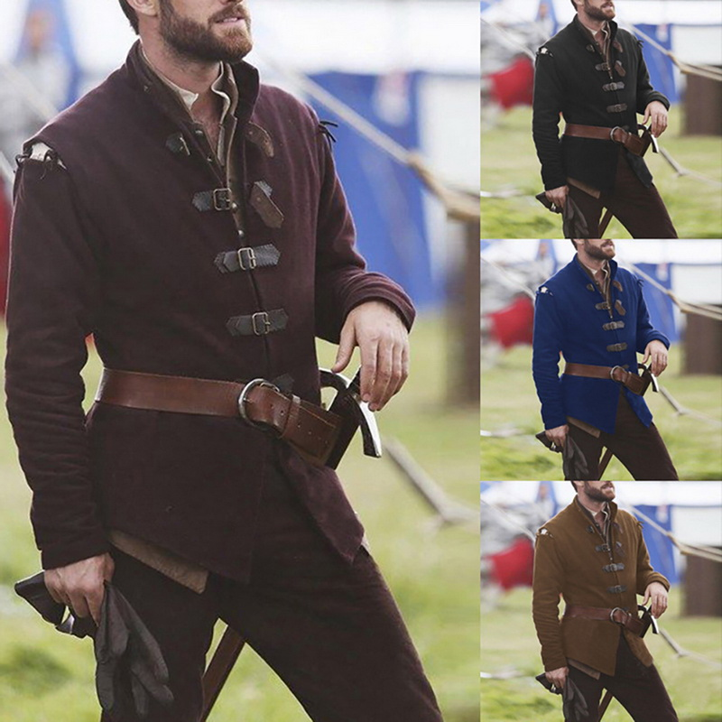 Medieval Knight Warrior Cosplay Costume Solid Color Collar Leather Buckle Medieval Adult Men Long Sleeve Top Costume