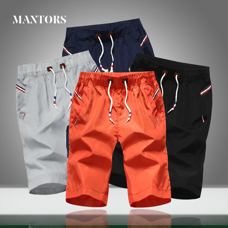 2020 New Men Shorts Casual Solid Color Elastic Waist Summer Male Loose Beach Shorts Knee Length Quick-drying Jogger Short Pants