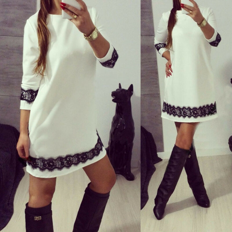Hot Fashion Women Casual White Lace Dress Ladies Party Long Sleeves Dress Casual Round Collar Loose Mini Short Dress