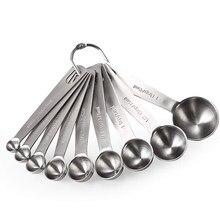 Colheres de medição de aço inoxidável, conjunto de copos para colheres de medição, conjunto de 6 ingredientes secos e líquidos pacote/7/8/9 pacotes