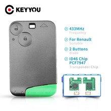 Keyyou cartão inteligente chave 433mhz pcf7947 id46 transponder chip para renault laguna espace sem corte fob 2 botões de controle remoto chave do carro
