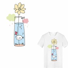 Iron on Transfer Flower Patches for Girl Clothing DIY T-shirt Dresses Applique Washable Stickers Stripes on Clothes Heat Press цена и фото