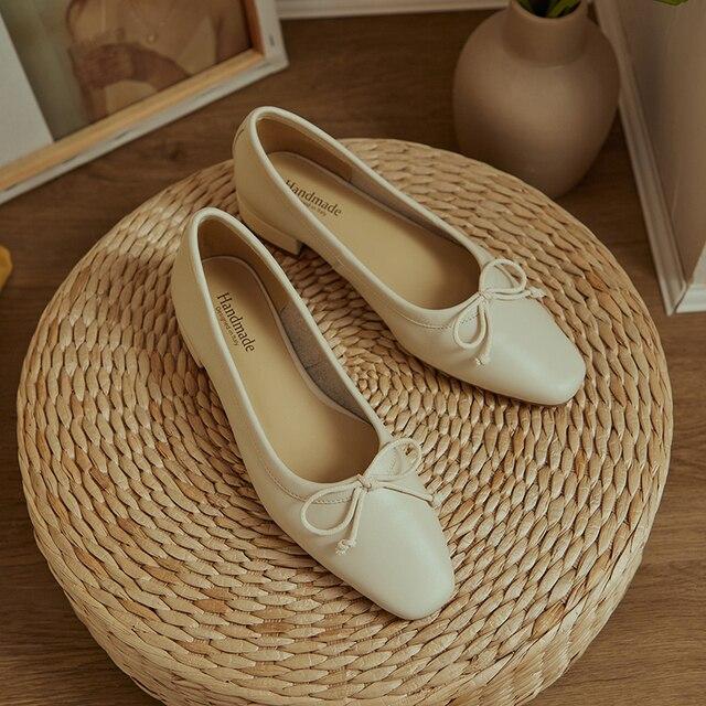 Damskie oryginalne skórzane koreańskie style muszka płaskie buty wsuwane mokasyny wypoczynek miękkie wygodne damskie baleriny damskie