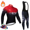 Зимний комплект Джерси с длинным рукавом для езды на велосипеде для команды INEOS Pro 2020  одежда для MTB велосипеда  теплая флисовая велосипедная ...