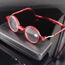 Moda tendencia colgante Magenet gafas de lectura marco redondo de alta calidad resina lente presbicia gafas hombres mujeres negro rojo 150